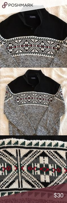 {CHAPS} Men's Nordic Sweater Classy stylish men's size M beautiful Nordic print collared/button sweater in perfect condition w/ no flaws or signs of wear. Smoke-free home. Bundle and save!!! Chaps Sweaters
