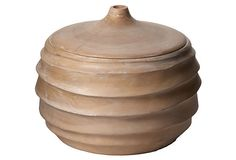 Terraced wood jar made of gorgeous mango wood.