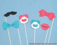 Photo Booth Prop Set  6 Piece Gender Reveal by FunPhotoProps, $12.95