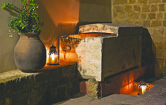 EXCLUSIVE SUITES BOUTIQUE HOTEL. MEDIEVAL TOWN, RHODES, GREECE. - The marble Roman sarcophagus in front of the mansion was turned into a fountain by one of the previous owners. - kokkiniporta.com
