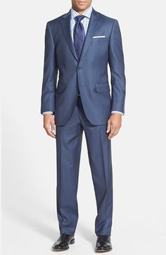 $695, Blue Suit: Peter Millar Classic Fit Wool Suit Blue 42s. Sold by Nordstrom. Click for more info: https://lookastic.com/men/shop_items/152903/redirect