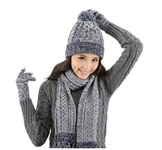 Shop Lantra Besa Women Pom Pom Beanie Hat, Scarf and Touchscreen Gloves Set for Autumn, Winter and Spring Warm Wool Blue-Grey(Size: One Size). Pom Pom Beanie Hat, Beanie Hats, Blue Grey, Christmas Ideas, Autumn, Warm, Amazon, Spring, Women