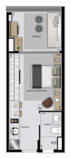 Studio - 31 m² Piscina Playground, Halls, Tiny Apartments, Best House Plans, Suites, My House, Beach House, Home Goods, New Homes
