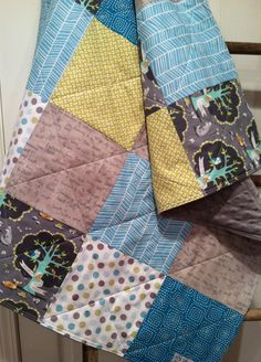 Baby Quilt Gender Neutral, Woodland Animals, Deer Owl Squirrel Fox, Gray Aqua Teal Lime, Minky, Crib bedding, Stroller Quilt, Girl or Boy by 31RubiesQuiltStudio on Etsy