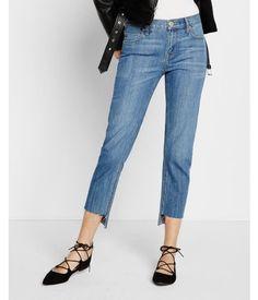 Raw Step Hem Girlfriend Jeans, Women's Size: