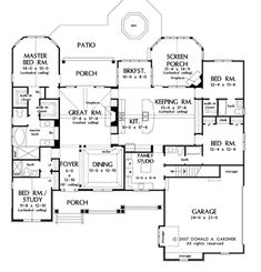 2613 sq. ft. - 4 BR/4 BA.  One Level. Euro Cottage exterior.  Ultimate Laundry Room and More! (HWBDO75781) | Craftsman House Plan from BuilderHousePlans.com