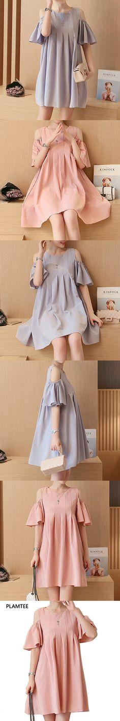 Fashion Off Shoulder Maternity Dress 2017 Summer Flouncing Sleeves Vestidos Solid Color Plus Size Pregnancy Clothes Hamile Giyim