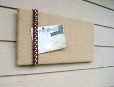 Pin or Bulletin Board in Burlap with a macrame by jensdreamdecor
