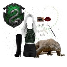 """""""Harry Potter: Slytherin"""" by melissa-f on Polyvore featuring Komodo, Opening Ceremony, Love Moschino, Giuseppe Zanotti, Lime Crime, Kevin Jewelers, LeiVanKash, Topshop, Swarovski and men's fashion"""