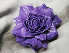 Purple Leather Rose Flower Brooch by leasstudio on Etsy