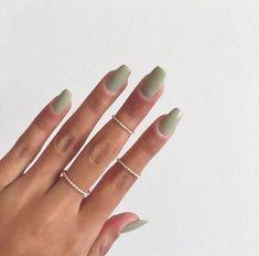 : Nice 50+ Calm Green Nail Design Inspiration #gelnails #springnails Green Nail Art, Green Nails, Black Nails, Green Nail Designs, Nail Art Designs, Olive Nails, American Nails, Nail Polish, Nail Nail