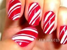 Candy cane nails .