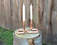 Industrial Candle Holder, Copper Pipe Candelabra, 3 Stem Candlestick Modern…