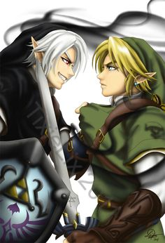 "Dark Link and Adult Link, battle in the Water Temple - The Legend of Zelda: Ocarina of Time; fan art ""Dark Link vs Link"" by *TixieLix on deviantART"