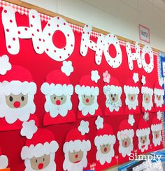 Christmas Bulletin Boards Santa - These are soo cute! Preschool Christmas, Noel Christmas, Christmas Activities, Christmas Themes, Christmas Crafts, Origami Christmas, Kids Crafts, Santa Crafts, Preschool Crafts