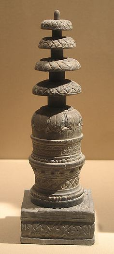 Reliquary in the Form of a Miniature Stupa  Date:2nd–3rd century Culture:Pakistan (ancient region of Gandhara) Medium:Schist Dimensions:H. 7 9/16 in. (19.2 cm) Classification:Sculpture