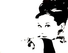 AUDREY HEPBURN PAINTING ON LARGE CANVAS