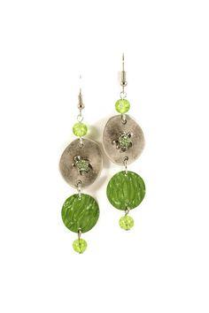 Boucles d'oreilles pendantes Nespresso légères en métal argenté et aluminium - Vert - Tortues Strass