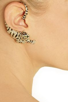 Roberto Cavalli|Gold-plated Swarovski crystal cuff-style tiger earrings