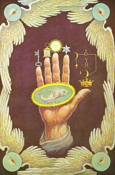 Hand-of-the-mysteries- Los símbolos alquímicos. Una salamandra rodeado por las llamas se pueden ver en la palma de la mano.