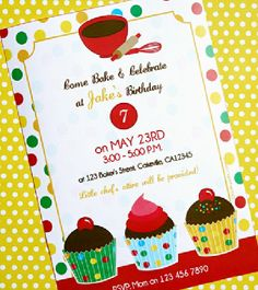 Printable Baking Birthday Invitations - Good for boys too!