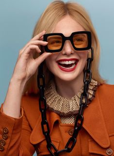sunglasses editorial Elle Fanning wears Gucci jacket, top, sunglasses and chain for Marie Claire February 2020 Elle Fanning, Marie Claire, Teresa Palmer, All The Bright Places, Accesorios Casual, Fashion Shoot, 3d Fashion, Editorial Fashion, Ideias Fashion