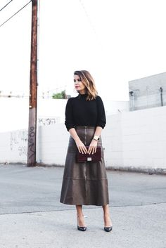 Skirt: brown zip-up zipped midi zip leather sweater black pumps black pumps high heel pumps collage