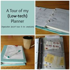 A Tour of my Low-tech Planner. Organization doesn't have to be complicated. - Tutorial by Sarah Mueller. - If you are considering putting together a new low-tech planner, here are some tips: 1) Keep it simple! A planner should make your life easier, not the other way around. 2) What size do you want? Does it need to be super-compact so you can fit it into a small bag? Do you want to use full-size pages? Do you need pockets for pens, pencils, etc.? 3) Binder, spiral bound, or other? ...