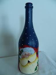 Imagem relacionada Painted Wine Bottles, Bottles And Jars, Glass Bottles, Glass Bottle Crafts, Bottle Art, Jar Crafts, Diy And Crafts, Christmas Crafts, Christmas Decorations