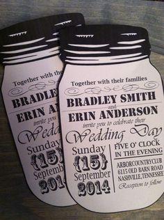 Vintage style mason jar wedding invitations by SomeSweetPickles, $2.00