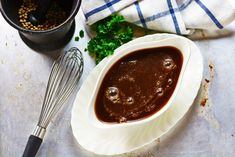 Espagnole sauce is a basic brown sauce, and is one of Auguste Escoffier's five mother sauces of classic French cooking. Five Mother Sauces, Red Wine Gravy, Beef Bone Broth, Beef Bones, Brown Sauce, Cooked Carrots, Specialty Foods, Roasted Potatoes, Gastronomia