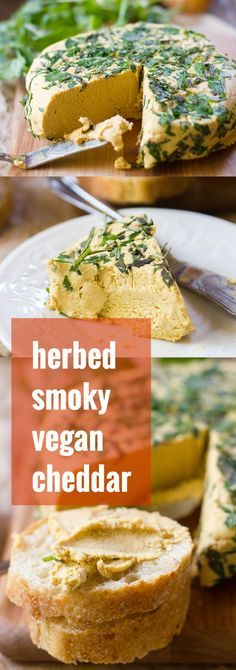 This smokey vegan cheddar cheese wheel is covered in a savory herb crust and made with a deliciously spreadable base of creamy cashews and pumpkin!