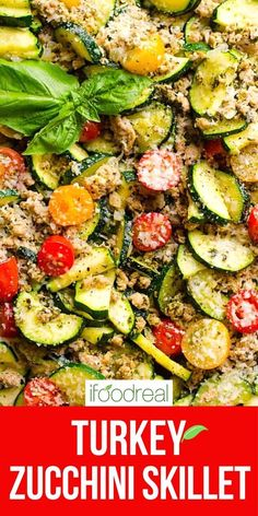 This 30 Minute Healthy Ground Turkey Zucchini Skillet with Pesto is delicious low carb one pot dinner recipe that will become your family's favourite! Minimum ingredients and effort with maximum flavour. Clean Eating Recipes For Dinner, Healthy Dinner Recipes, Kitchen Recipes, Cooking Recipes, Meat Recipes, Drink Recipes, Healthy Family Meals, Ground Turkey Recipes, Vegan Recipes Easy