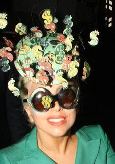 Lady Gaga Phillip Treacy Dollar Sign Hat