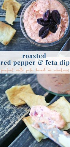 This delicious, creamy dip is so EASY! Made with just 3 ingredients: cream cheese, feta cheese and roasted red peppers, this is a healthy addition to any spread. Go check your fridge now! Healthy Meals For Kids, Healthy Food, Healthy Recipes, Feta Dip, Lunchbox Ideas, Roasted Red Peppers, Nutrition Tips, 3 Ingredients, New Recipes