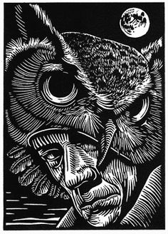 """Marc Snyder's eight linocuts for Noel Sloboda's """"Our Rarer Monsters"""", a book of poetry to be published in 2012 by Sunnyoutside Press."""