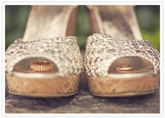 gold wedding shoes and wings