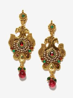 Bindhani gold plated kundan peacock shaped ethnic traditional drop earrings for women-SAJE20