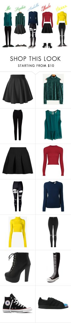 """""""Harry Potter (my friends personalities in houses)"""" by mid-night-moon-light ❤ liked on Polyvore featuring EAST, Zara, T By Alexander Wang, WithChic, Tory Burch, Jacquemus, Topshop, Converse and adidas Originals"""