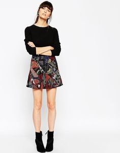 Image 1 of ASOS Mini Skirt with All Over Patchwork Sequin