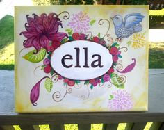 Shop for on Etsy, the place to express your creativity through the buying and selling of handmade and vintage goods. Painted Name Canvas, Wall Canvas, Projects For Kids, Art Projects, Name Paintings, Childrens Wall Art, Personalised Canvas, Painted Signs, Kid Names