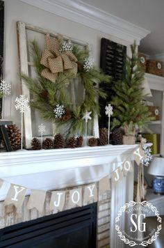 farmhouse christmas mantel - Pinterest Decorating Mantels For Christmas