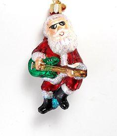 old world christmas rock n roll santa guitar glass ornament