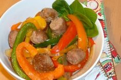 Gluten and Dairy Free Sausage and Peppers | OAMC from Once A Month Meals FREEZER meal - cut all & place in Ziplock bag, except broth of course.