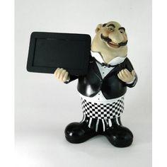 Chalkboard Sign Man Waiter MENU BOARD butler statue w checked pants