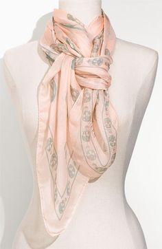 Alexander McQueen Silk Skull Scarf in Pink & Green