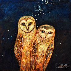 owl art pictures | Starlight Owls Painting - Starlight Owls Fine Art Print