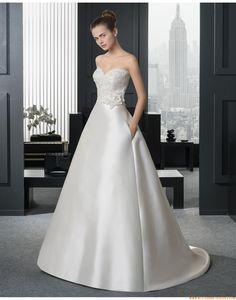 2015 A-linie Trendige Moderne Brautkleider aus Taft mit Applikation