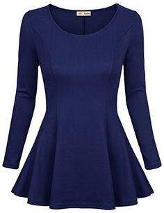 Timeson Womens Comfy Loose Fit Trapeze Tunic Top with Scoop Neck >>> To view further for this item, visit the image link.