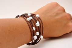 Pearl and Leather Jewelry Bracelet - Multi-Strand Brown with White Pearls - Pearl and Leather Jewelry Collection via Etsy